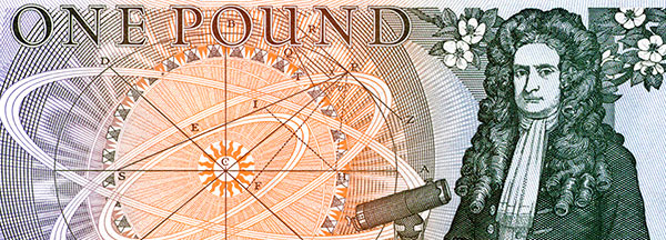Newton on the One Pound Note.