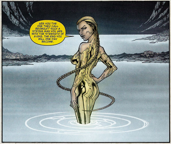 Comic book version of Angelina Jolie as Grendel's Mother.