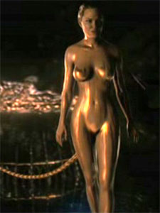 "A digitally naked Angelina Jolie as Grendel's Mother in ""Beowulf."""
