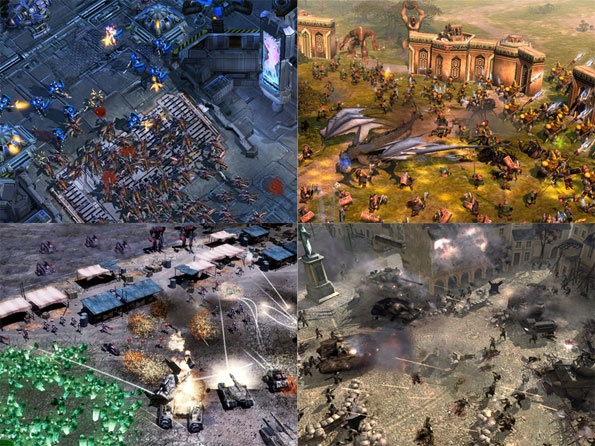 Clockwise from upper left: StarCraft II, Battle for Middle Earth II, Company of Heroes, Command & Conquer Tiberium Wars