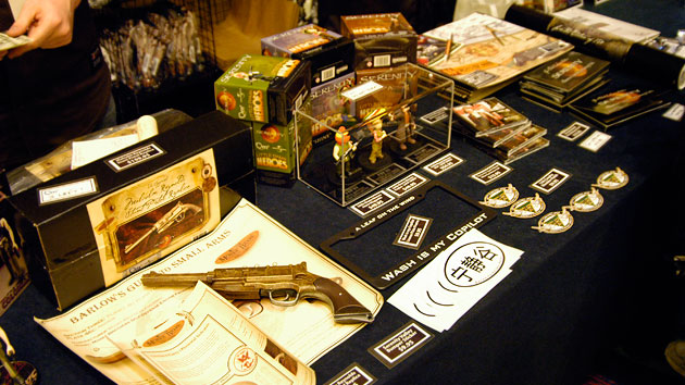 Firefly-themed collectibles on sale in the dealer's room.