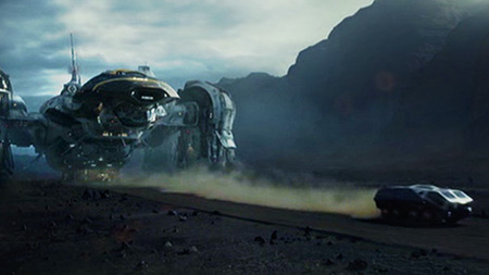 One of 'Prometheus'' many, many driving-between-the-ship-and-the-temple scenes.